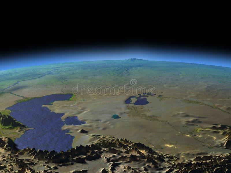 Asia Central del espacio el madrugada ilustración del vector