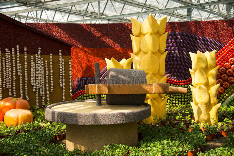 Asia China, Beijing, agricultural carnival, modern architecture,indoor exhibition area, scene. Asia China, Beijing agricultural carnival is a new exploration and royalty free stock photography