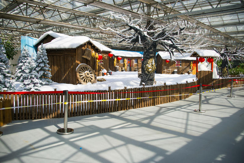 Asia China, Beijing, agricultural carnival, modern architecture, indoor exhibition hall, scene,Wooden house,snow scene. Asia China, Beijing royalty free stock image