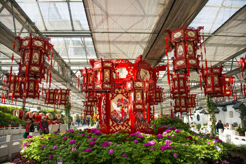 Asia China, Beijing, agricultural carnival, modern architecture, indoor exhibition hall, scene,red lantern. Asia China, Beijing agricultural carnival is a new stock photo