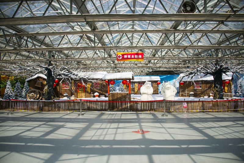 Asia China, Beijing, agricultural carnival, modern architecture, indoor exhibition hall, Wooden house,snow scene. Asia China, Beijing agricultural carnival stock photo