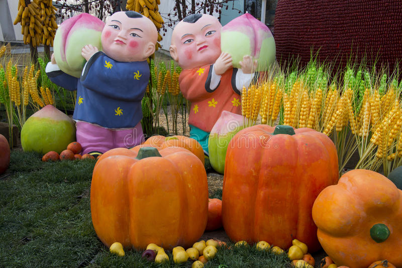 Asia China, Beijing, agricultural carnival, modern architecture,Outdoor exhibition area, landscape, doll, pumpkin. Asia China, Beijing agricultural carnival is a royalty free stock photos