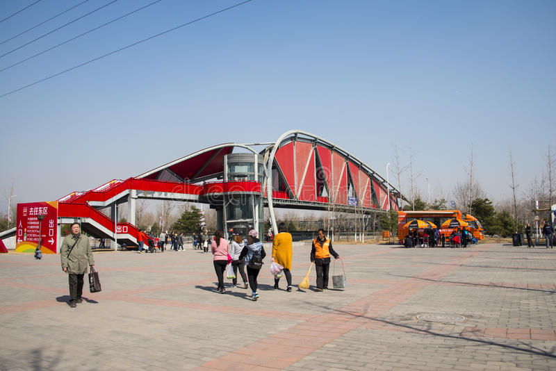 Asia China, Beijing, agricultural carnival,Outdoor landscape architecture, gallery, bridge. Beijing agricultural carnival is a new exploration and practice to stock photography