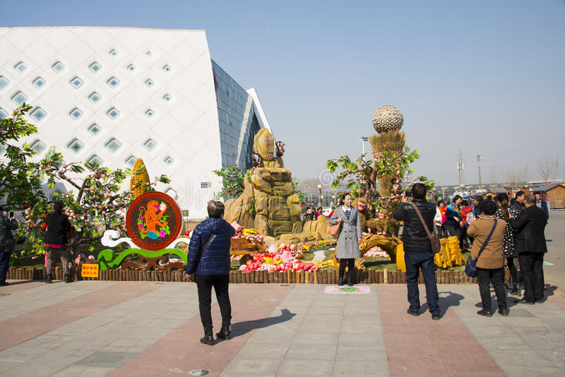 Asia China, Beijing, agricultural carnival,Outdoor, landscape decorative sculpture. Beijing agricultural carnival is a new exploration and practice to expand the royalty free stock photo