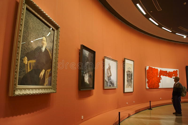 In Asia, China, Beijing, art museum, the exhibition hall layout, interior design stock images