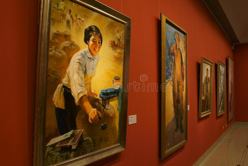 In Asia, China, Beijing, art museum, the exhibition hall layout, interior design. China Art Gallery is a collection, research, exhibition of Chinese modern stock images