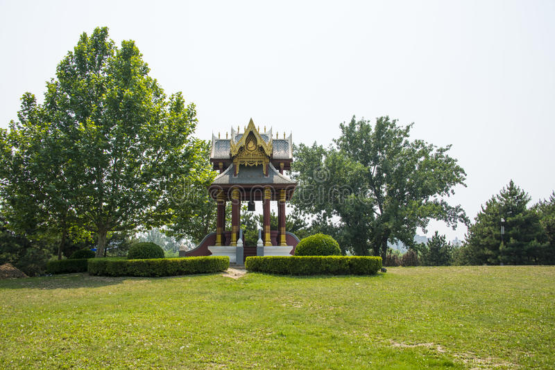 Asia in China, Beijing, Chaoyang Park, China, Thailand, friendship Pavilion. Asia China, Beijing, Chaoyang Park, the main garden green integrated, multi royalty free stock photos