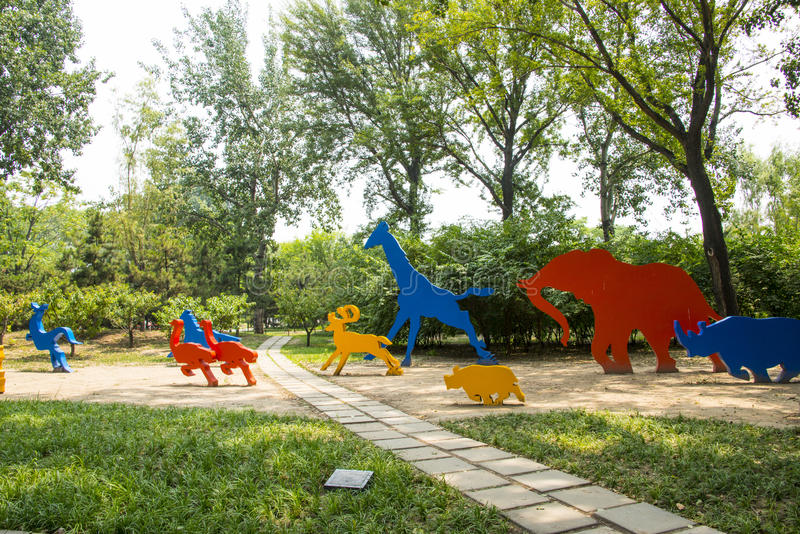 Asia China, Beijing, Chaoyang Park, Landscape sculpture, running animals. Asia China, Beijing, Chaoyang Park, the main garden green integrated, multi-functional stock photo