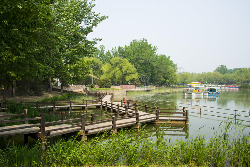Asia China, Beijing, Chaoyang Park, The spring landscape, lake view,wooden trestle. Asia China, Beijing, Chaoyang Park, urban landscape, leisure space stock photos