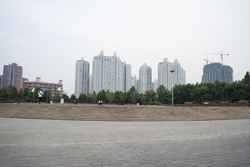 Asia in China, Beijing, Chaoyang Park, Square. Asia China, Beijing, Chaoyang Park, the main garden green integrated, multi-functional large-scale cultural royalty free stock photography
