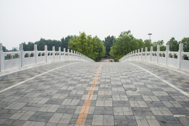 Asia in China, Beijing, Chaoyang Park,Stone bridge, railing. Asia China, Beijing, Chaoyang Park, the main garden green integrated, multi-functional large-scale royalty free stock photos