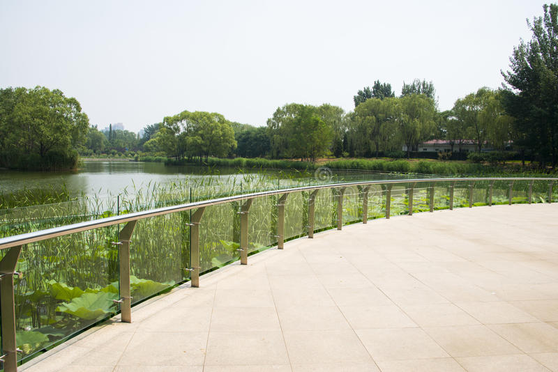 Asia in China, Beijing, Chaoyang Park, Viewing platform. Asia China, Beijing, Chaoyang Park, the main garden green integrated, multi-functional large-scale stock images