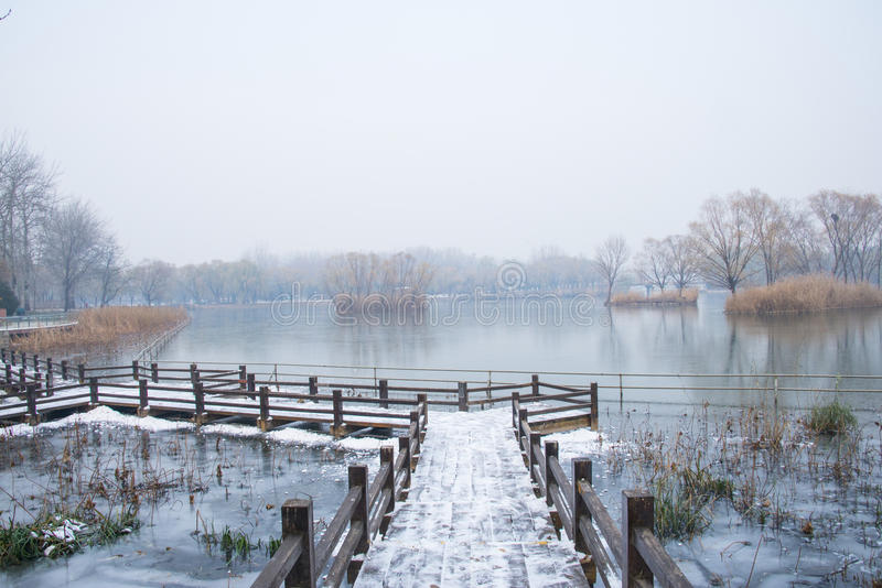 Asia China, Beijing, Chaoyang Park, winter scenery,The wooden bridge, snow. Asia Chinese, Beijing, Chaoyang Park ,The wooden bridge on the snow, frozen stock images