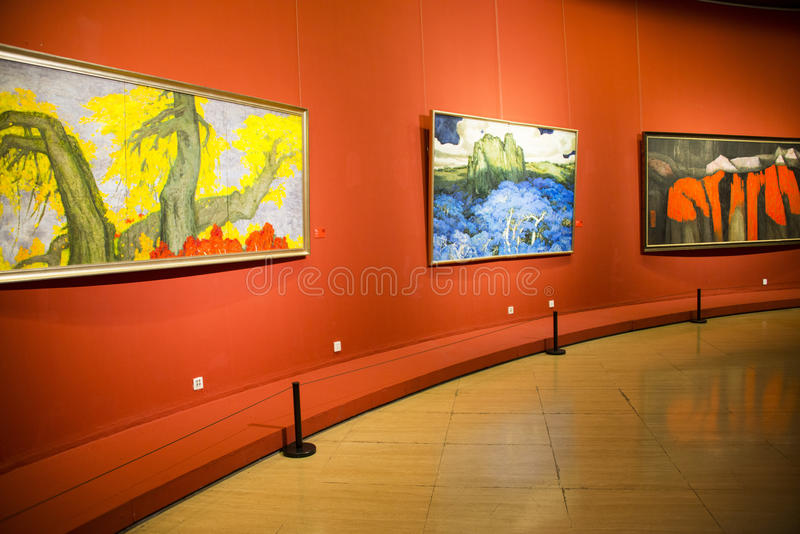 Asia China, Beijing, China Art Museum, indoor exhibition hall, oil painting exhibition. Asia China, Beijing, China Art Museum, modern architecture, indoor stock image
