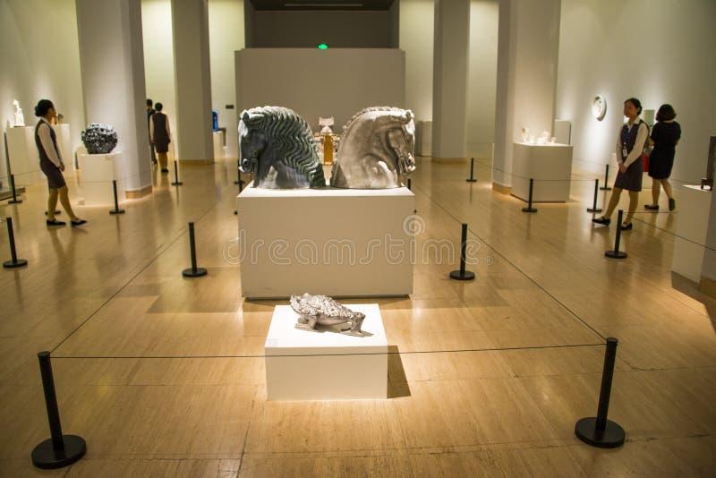 Asia China, Beijing, China Art Museum, modern ceramic art exhibition. Asia China, Beijing, China Art Museum, modern architecture, indoor exhibition hall, modern royalty free stock photos