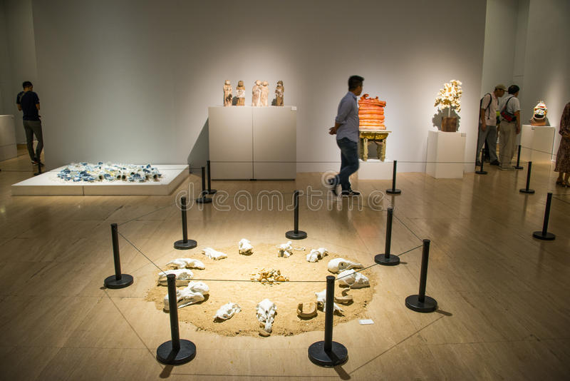 Asia China, Beijing, China Art Museum, modern ceramic art exhibition. Asia China, Beijing, China Art Museum, modern architecture, indoor exhibition hall, modern stock photography