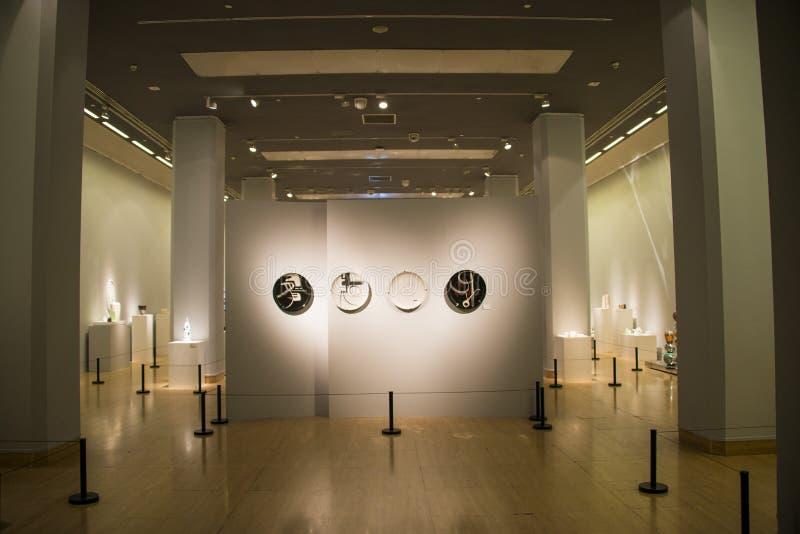 Asia China, Beijing, China Art Museum, modern ceramic art exhibition. Asia China, Beijing, China Art Museum, modern architecture, indoor exhibition hall, modern stock photos