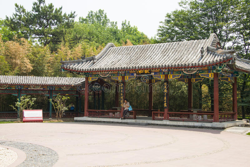 Asia, China, Beijing ditan park,Landscape architecture,Pavilion, Gallery. Asia, China, Beijing ditan park, royal gardens, historical buildings, Pavilion royalty free stock photos