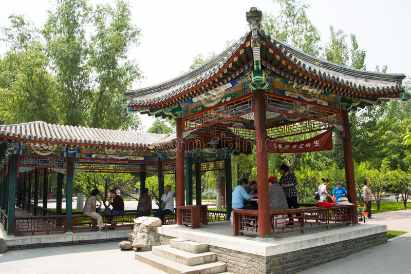 Asia, China, Beijing ditan park,Landscape architecture,Pavilion, Gallery. Asia, China, Beijing ditan park, royal gardens, historical buildings, Pavilion royalty free stock photo