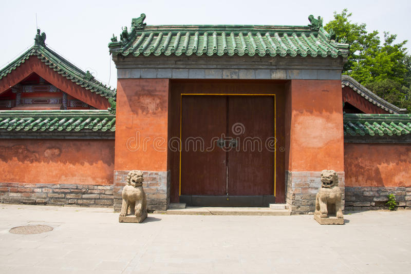 Asia, China, Beijing ditan park,Landscape architecture,Stone lion, gatehouse. Asia, China, Beijing ditan park, royal gardens, historical buildings royalty free stock photo