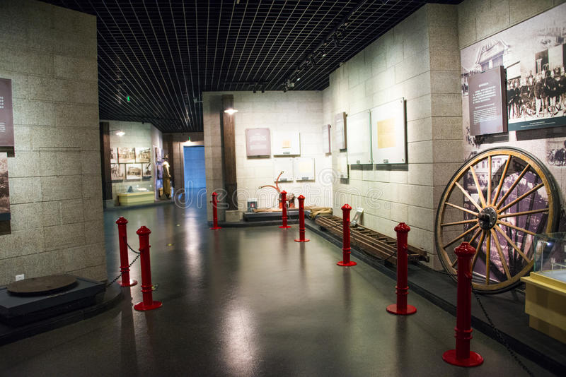 Asia China, Beijing, indoor exhibition hall. China and Asia, Beijing, Fire Museum, exhibition room, lobby, exhibition hall of ancient, modern exhibition hall stock images