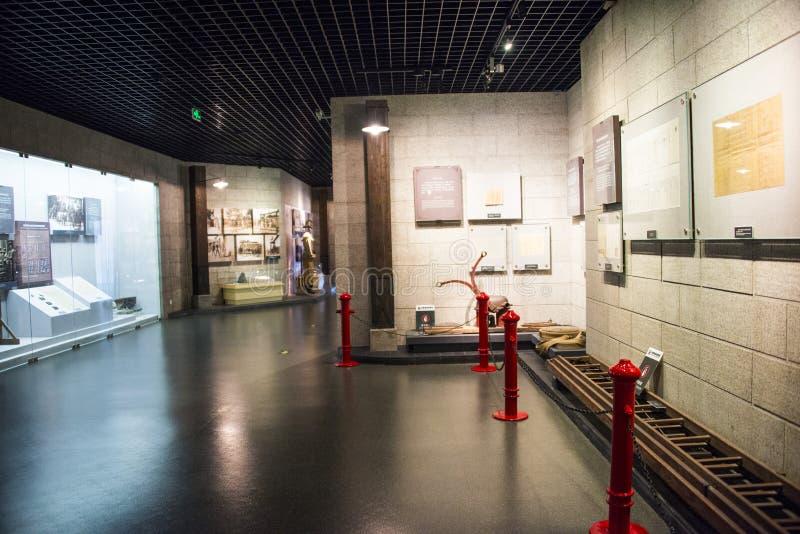 Asia China, Beijing, indoor exhibition hall. China and Asia, Beijing, Fire Museum, exhibition room, lobby, exhibition hall of ancient, modern exhibition hall stock image