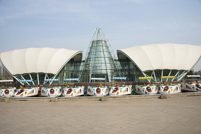 Asia China, Beijing international sculpture park, comprehensive experience pavilion. Asia, China, Beijing international sculpture park, urban leisure park stock photo