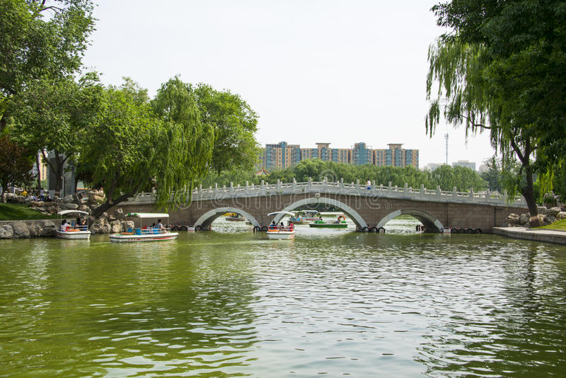 Asia China, Beijing, Longtan Lake Park, Summer landscape, Lake, stone bridge royalty free stock photos