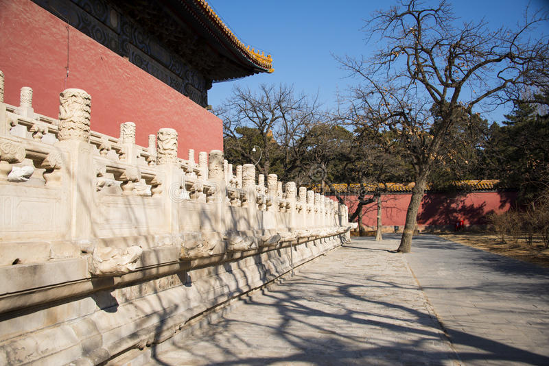 Asia China, Beijing, Ming Dynasty Tombs,Changling Mausoleum,Courtyard, stone railing. Asia China, Beijing, Ming Dynasty Tombs, Changling, the Ming Dynasty stock photography