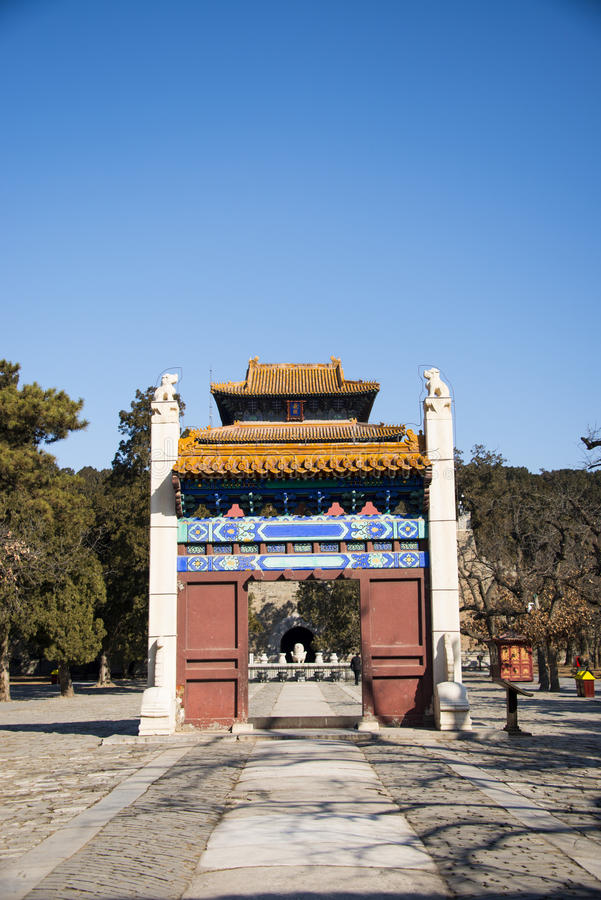 Asia China, Beijing, Ming Dynasty Tombs,Changling Mausoleum,Memorial Archway door. Asia China, Beijing, Ming Dynasty Tombs, Changling, the Ming Dynasty stock photography