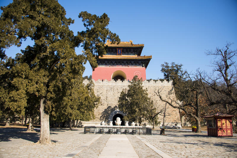 Asia China, Beijing, Ming Dynasty Tombs,Changling Mausoleum,minglou. Asia China, Beijing, Ming Dynasty Tombs, Changling, the Ming Dynasty Tombs in the stock image