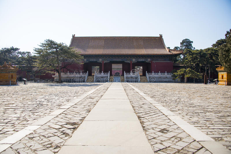 Asia China, Beijing, Ming Dynasty Tombs,Changling Mausoleum,palace hall. Asia China, Beijing, Ming Dynasty Tombs, Changling, the Ming Dynasty Tombs in the royalty free stock image