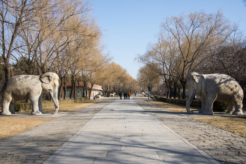 Asia China, Beijing, Ming Dynasty Tombs, scenic area, Road God stone carving. Asia China, Beijing, Ming Dynasty Tombs scenic spot, God Road , historic building stock images