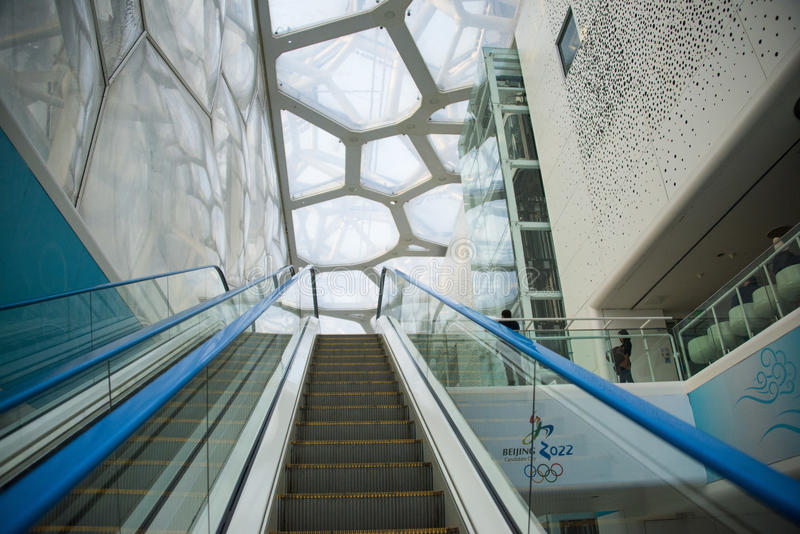 Asia China, Beijing, National Swimming Center, indoor ,Escalator. Asia China, Beijing, National Swimming Center, Olympic competition venues, modern royalty free stock photography