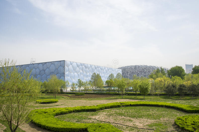 Asia China, Beijing, Olympic Park, garden landscape architecture. Asia China, Beijing, Olympic Park, spring garden scenery, far from the bird's nest and the royalty free stock images
