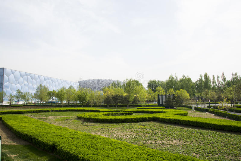 Asia China, Beijing, Olympic Park, garden landscape architecture. Asia China, Beijing, Olympic Park, spring garden scenery, far from the bird's nest and the stock image