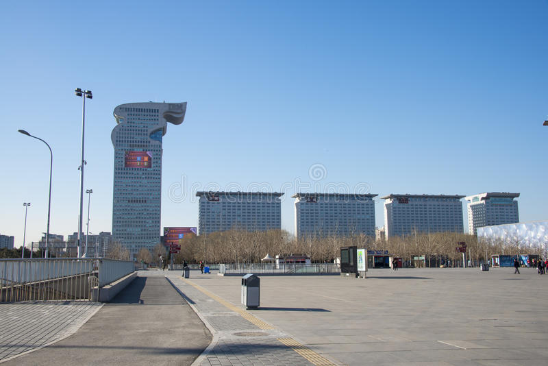 Asia China, Beijing, Olympic Park, landscape architecture. Asia Chinese, Beijing, Olympic Park, garden city, modern architecture, Pangu building stock image
