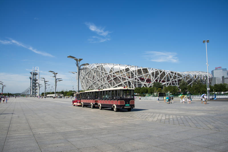 Asia China, Beijing, Olympic Park, National Stadium, sightseeing train. Asia China, Beijing, Olympic Park, the National Stadium under the blue sky, the square on royalty free stock photography