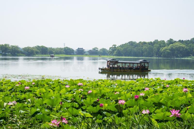 Asia China, Beijing, the Summer Palace,Lotus pond, a cruise ship. Asia China, Beijing, the Summer Palace, Royal Garden, Lotus pond, a cruise ship,summer stock photo