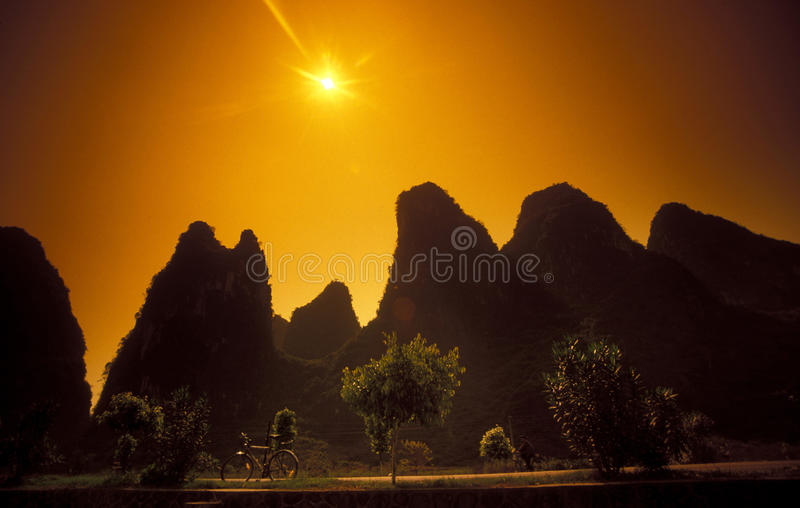 ASIA CHINA GUILIN. The landscape at the Li River near Yangshou near the city of Guilin in the Province of Guangxi in china in east asia royalty free stock photos