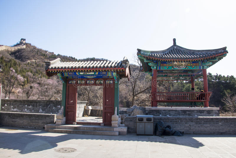 Asia China, Pekín, la Gran Muralla de Badaling, arquitectura de paisaje fotos de archivo libres de regalías