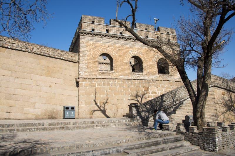 Asia China, Pekín, la Gran Muralla de Badaling, arquitectura de paisaje fotografía de archivo libre de regalías