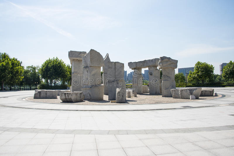 Asia China, Pekín, parque de Jianhe, cuadrado, stonesculptural fotos de archivo libres de regalías