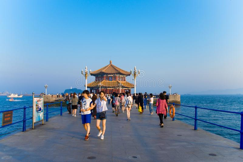 Asia China, Qingdao, Shandong, trestle bridge ,Huilan Pavilion royalty free stock photos