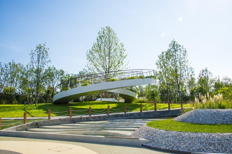 Asia China, Wuqing Tianjin, expo verde, plataforma circular de la visión imágenes de archivo libres de regalías