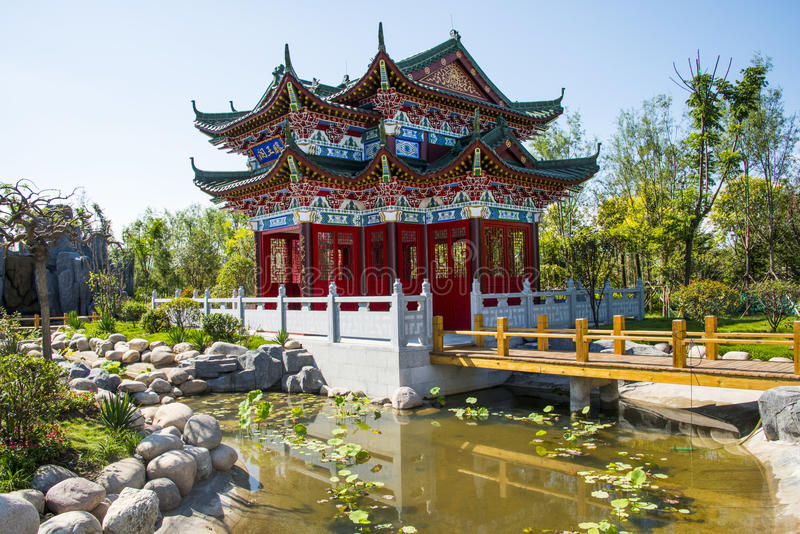 Asia China, Wuqing, Tianjin, Green Expo,Garden architecture, Antique building, attic stock photography