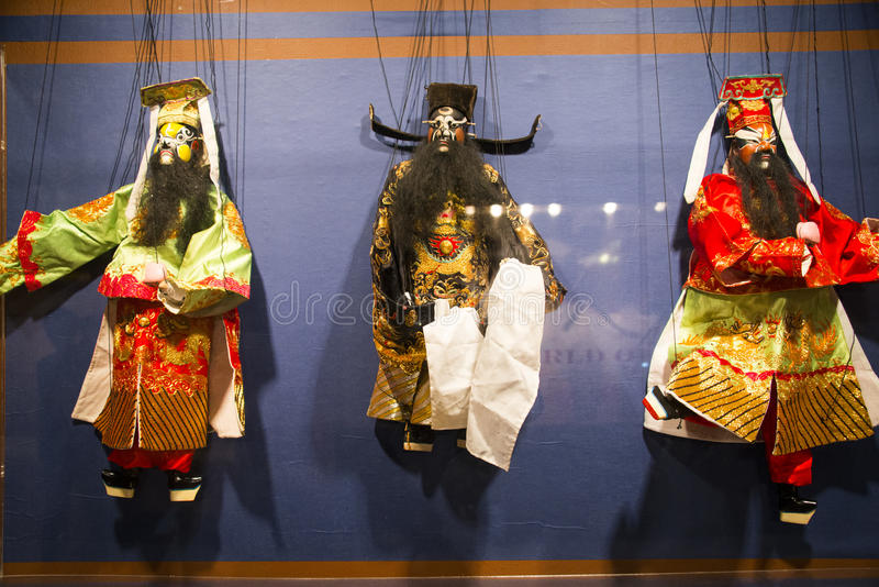 Asia Chinese, Beijing, Chinese Art Museum, indoor exhibition hall, puppet,Chinese traditional opera characters. Asia Chinese, Beijing, Chinese Art stock photos