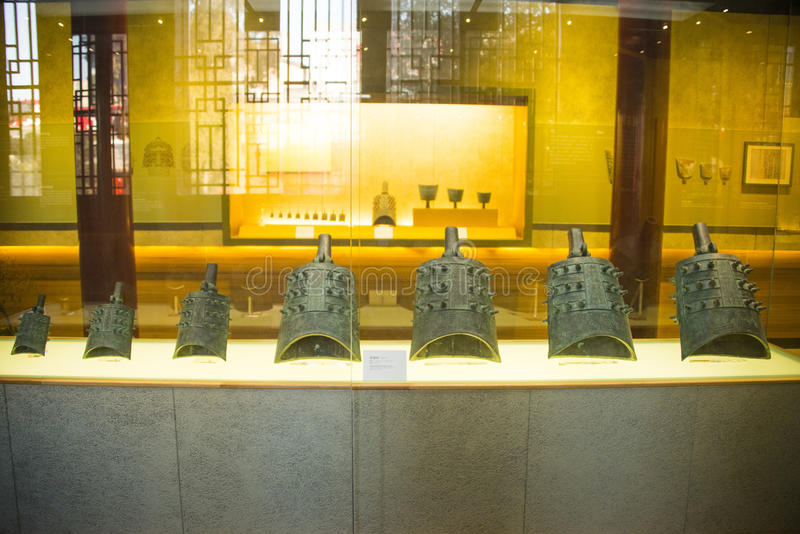 Asia Chinese, Beijing, Dazhongsi Ancient Bell Museum,Indoor exhibition,ancient chime bell. Asia Chinese, Beijing, Dazhongsi Ancient Bell Museum royalty free stock photo