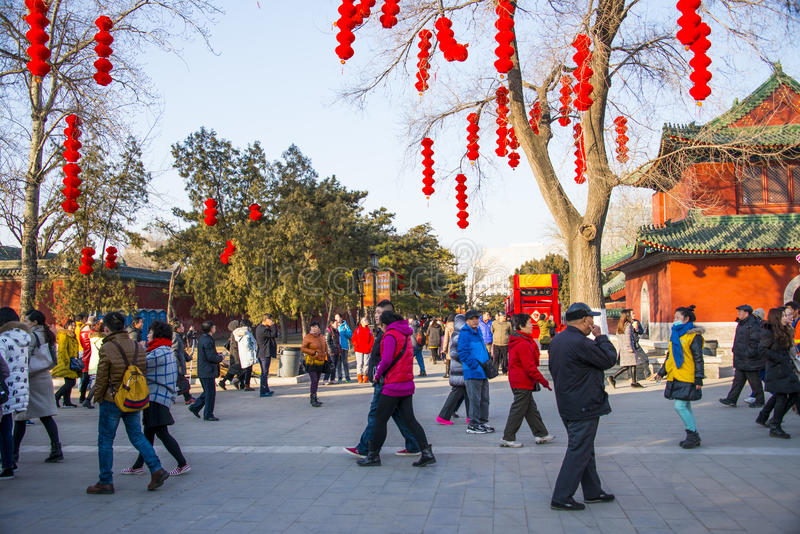 Asia Chinese, Beijing Ditan Park, the Spring Festival Temple Fair. China and Asia, Beijing, Ditan Park, temple fair during the Spring Festival, the temple is stock photo