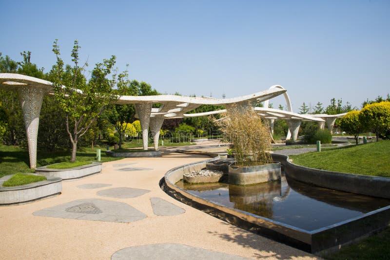 Asia Chinese, Beijing, Garden Expo, modern architecture, Pavilion. Asia Chinese, Beijing, Garden Expo, landscape architecture, modern style, unique design, white royalty free stock photo